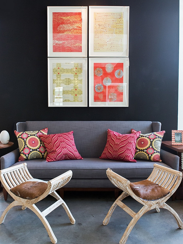 View In Gallery Colorful Wall Art And Bohemian Style Throw Pillows Enliven  The Space