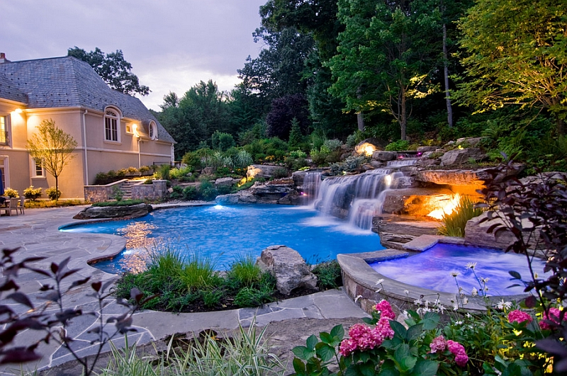 Combine the waterfall feature along with the sizzling hot fire pit!