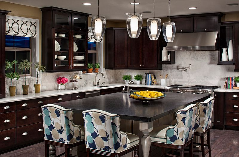Comfortable seating at the kitchen island