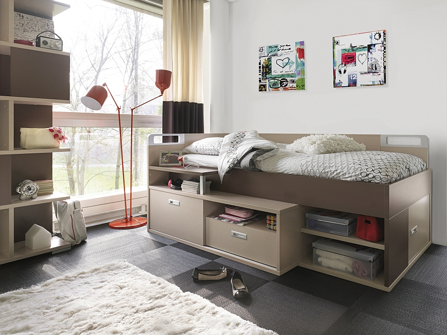 Compact bed with built-in workstation and storage for the space-conscious kids' bedroom