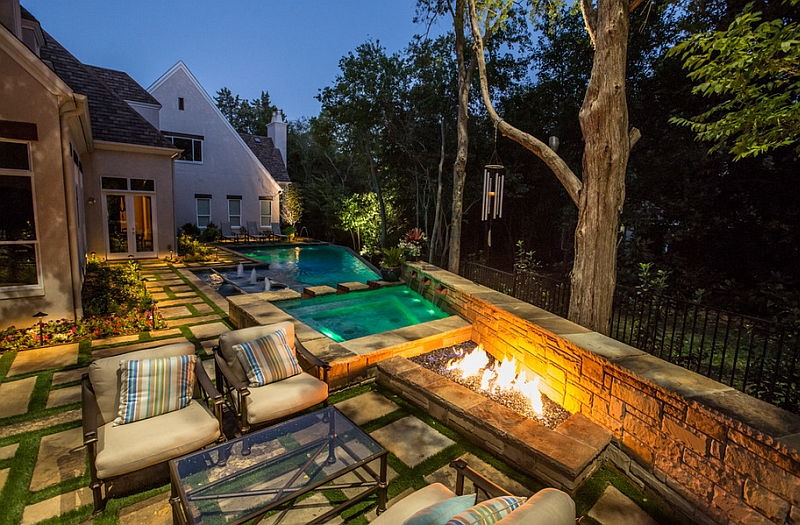 Complete the poolside lounge with a trendy fireplace
