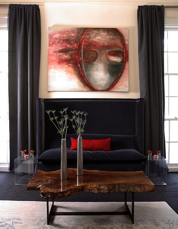 Contemporary living room makes smart use of blank and red