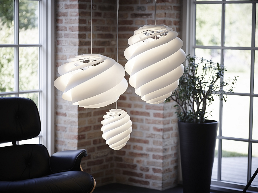 Contemporary pendant lights in dreamy white