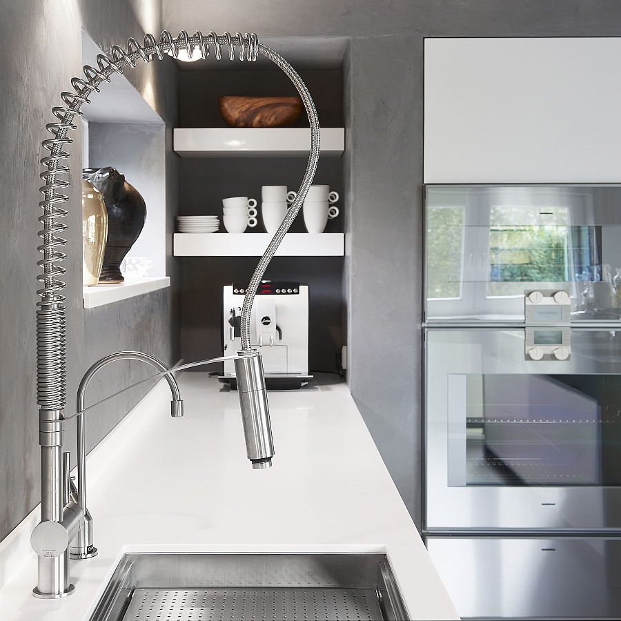 Convenient stainless steel kitchen faucet with a dual spray outlet