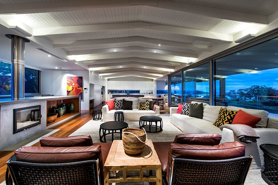 Cool beach style living space with an open floor plan