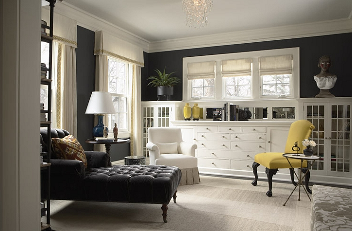 Cozy sitting room in gray with an accent chair in yellow