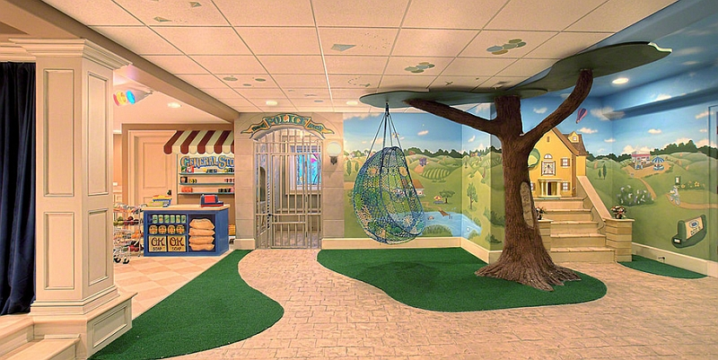 Creative idea for a kids' playroom in the basement