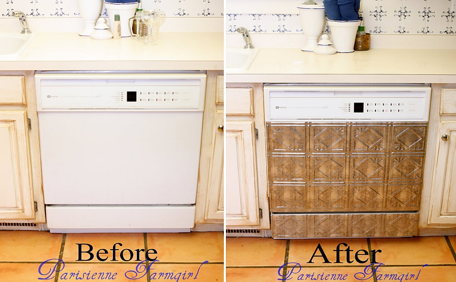 DIY Faux Tin Tile dishwasher makeover Ugly Appliances No More! Make Them Over To Suit Your Space