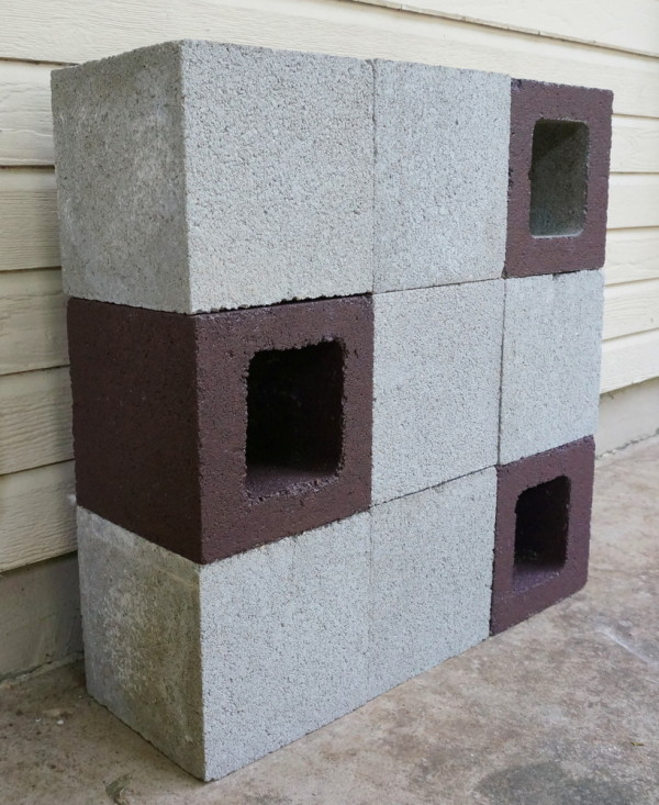 DIY cinder block planter in progress