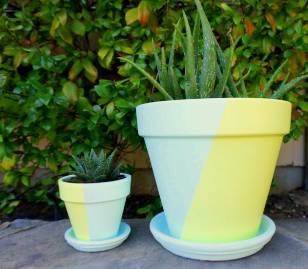 DIY painted geometric pots