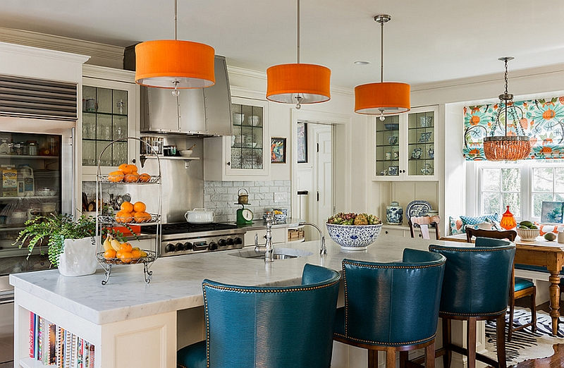Daring addition of orange and blue in the kitchen