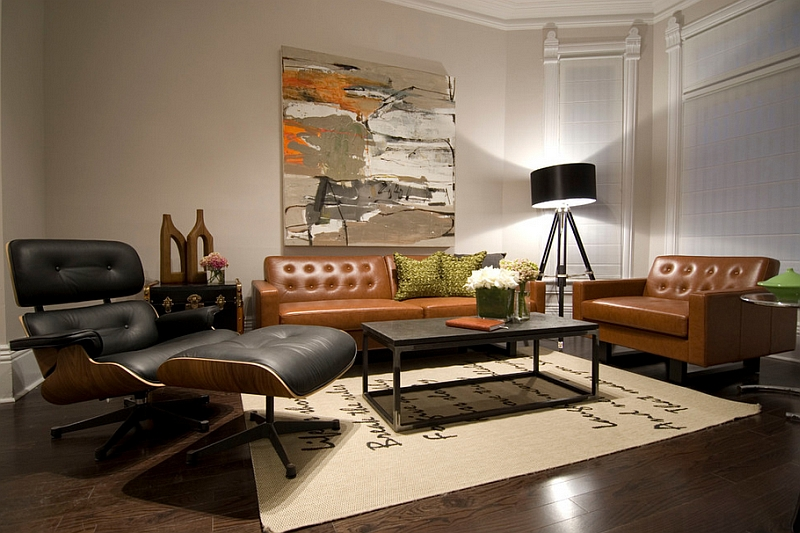 View In Gallery Dark Black Lampshade Of The Floor Lamp Helps Give Better Definition To Living Room