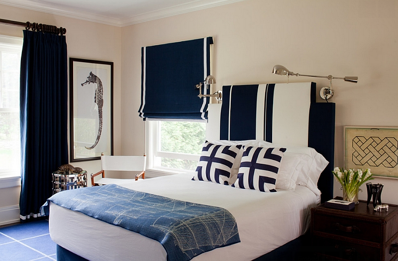 Dark blue roman shade with white border for the nautical themed bedroom