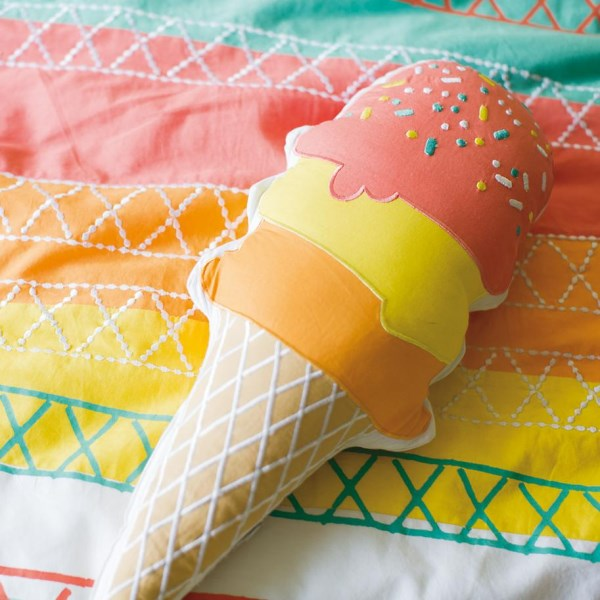 Colorful ice cream throw pillow
