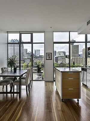 Dining space and kitchen of the Vancouver Apartment