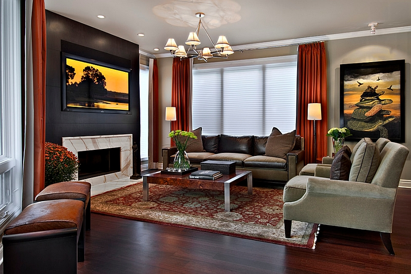 Drapes are a wonderful way to bring in bold colors without overwhelming the room