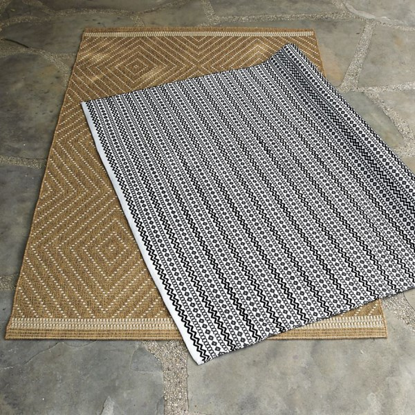 Earthy indoor-outdoor rugs from Crate & Barrel