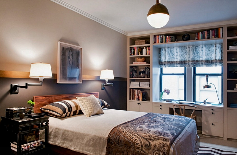 Eclectic bedroom combines the small Hicks Pendant with wall sconces