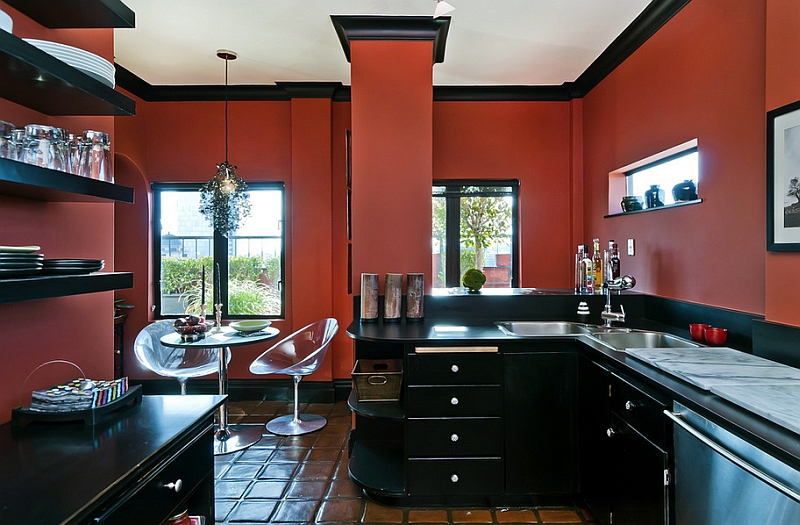 Eclectic kitchen goes bold with just black and red