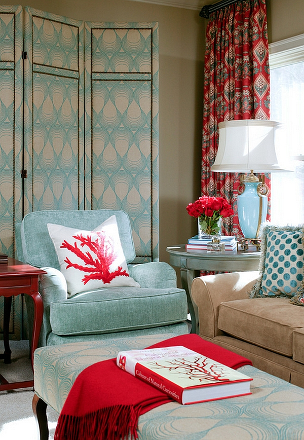 Eclectic living room with a lovely mix of turquoise and red
