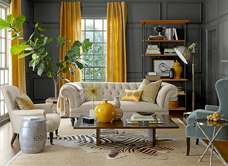 Awesome View In Gallery Eclectic Living Room With Gray Walls And Yellow Drapes