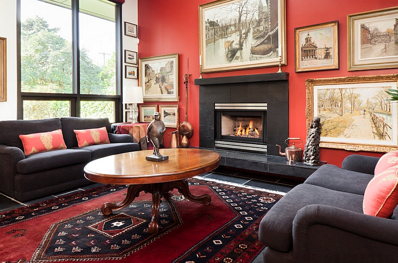 Eclectic living rooms allow you to use red in an extensive fashion