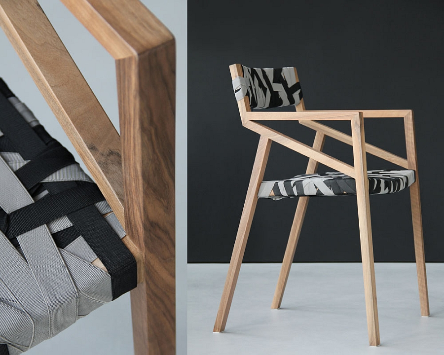 Eleagnt and minimalist wooden chair in trendy grey