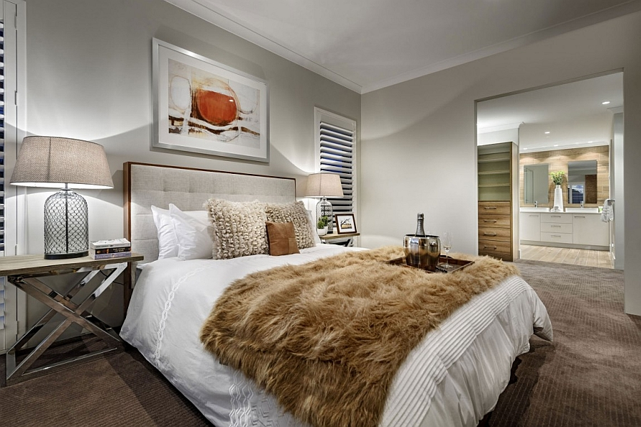 Elegant bedroom with cozy textures ensures creates a luxurious ambiance