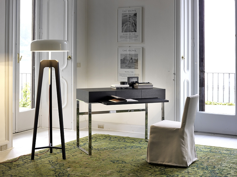 Elegant modern home office with an oversized floor lamp and a smart workspace Unique Contemporary Floor Lamps That Stand Out From The Crowd!