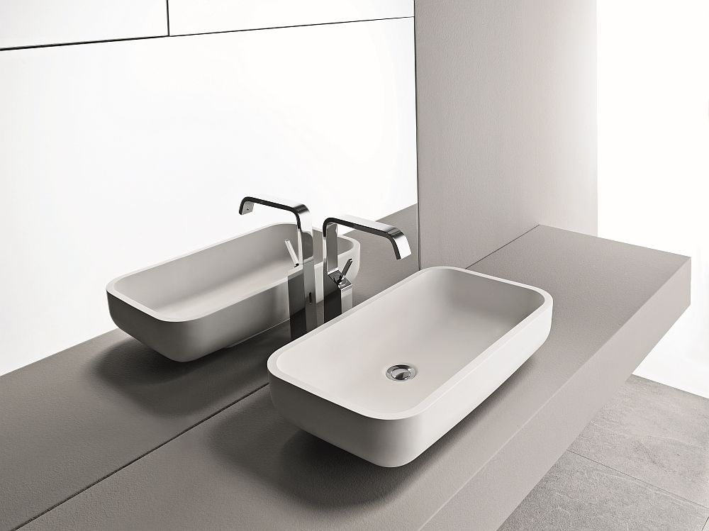 Elegant sit-on basin for the sleek modern bath and powder room
