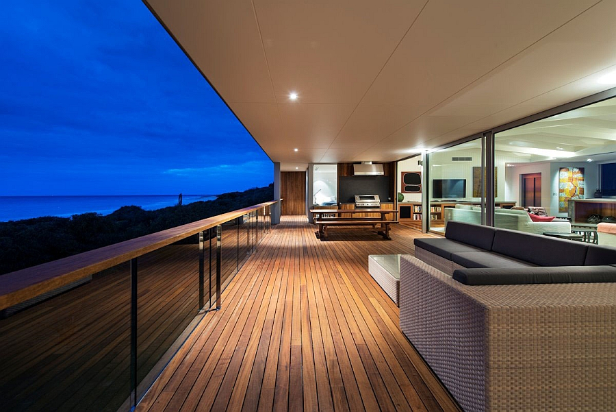 Exapnsive deck space with ocean views and luxurious seating