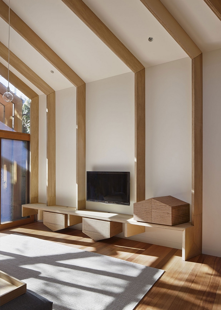 Exposed wooden beams on the interior give the space a sense of granduer