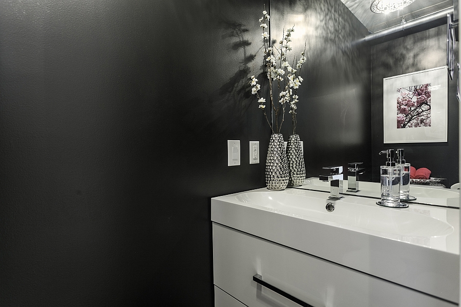 Exquisite bathroom in grey and white looks elegant and refined