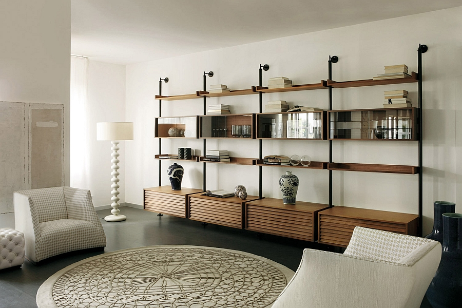 Fabulous floor lamp next to the gorgeous wall unit in wood
