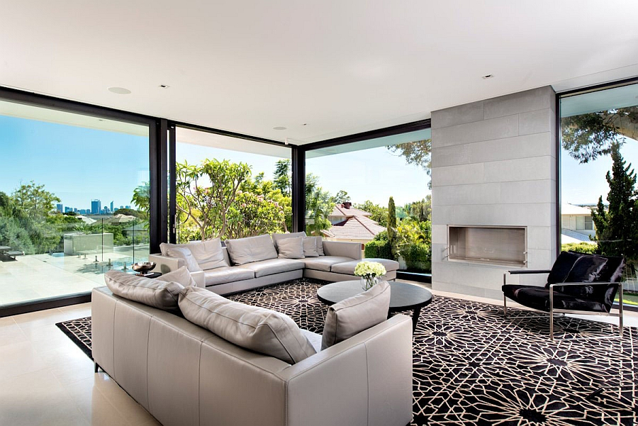 Lavish family residence in perth blends aesthetics with for Salon moderne de luxe
