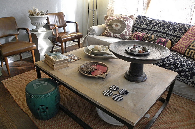 Fill your living room with a variety of antiques and collectibles you treasure