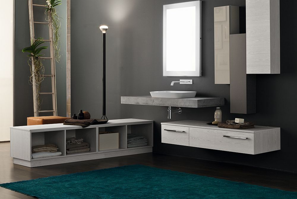 Floating vanity and storage shelves give the bathroom an airy appeal Ingenious Italian Style Furnishings For The Posh Spa Like Bathroom