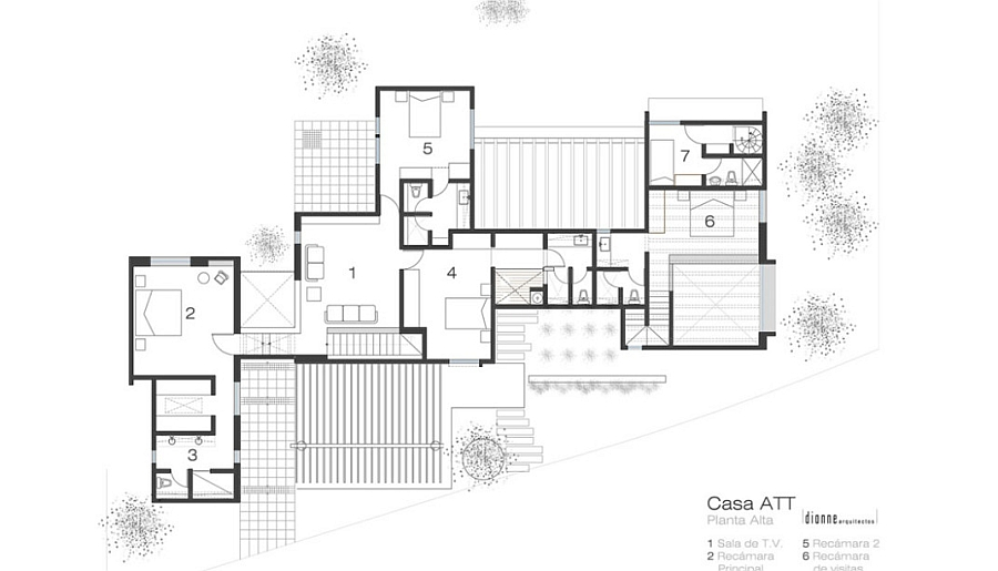 Floor plan of the Casa ATT in Mexico