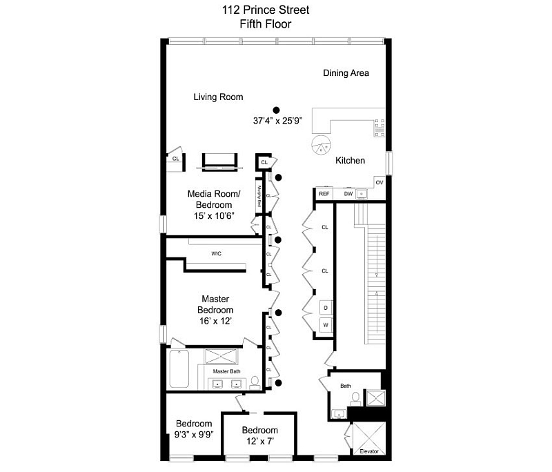 Floor plan of the chic NYC loft with an eclectic interior