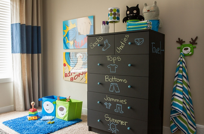Furniture with chalk paint is a fun and flexible addition to the kids' room