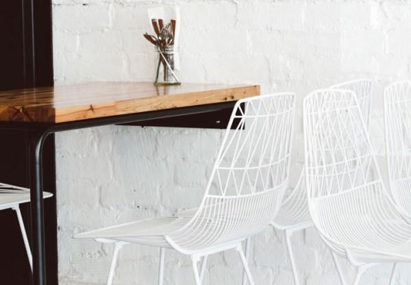 Geometric metal chairs