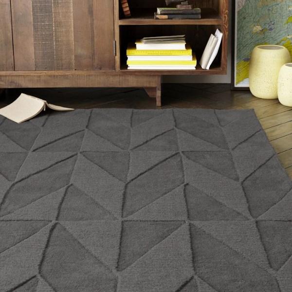 Geometric rug in slate