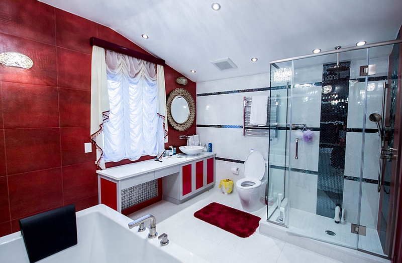 Glamorous NYC bathroom in red, black and white