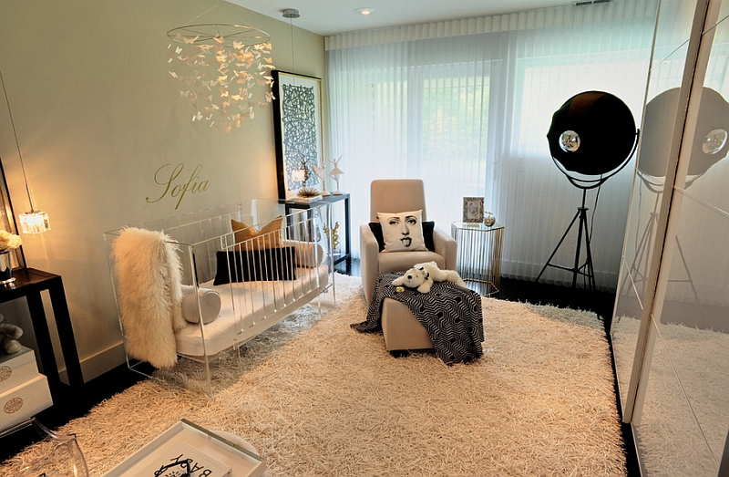 Glamorous nursery with a hint of Hollywood Regency Style