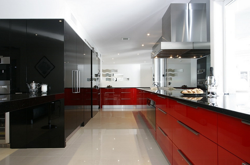 Glossy black and red cabinets are a favorite among contemporary homeowners