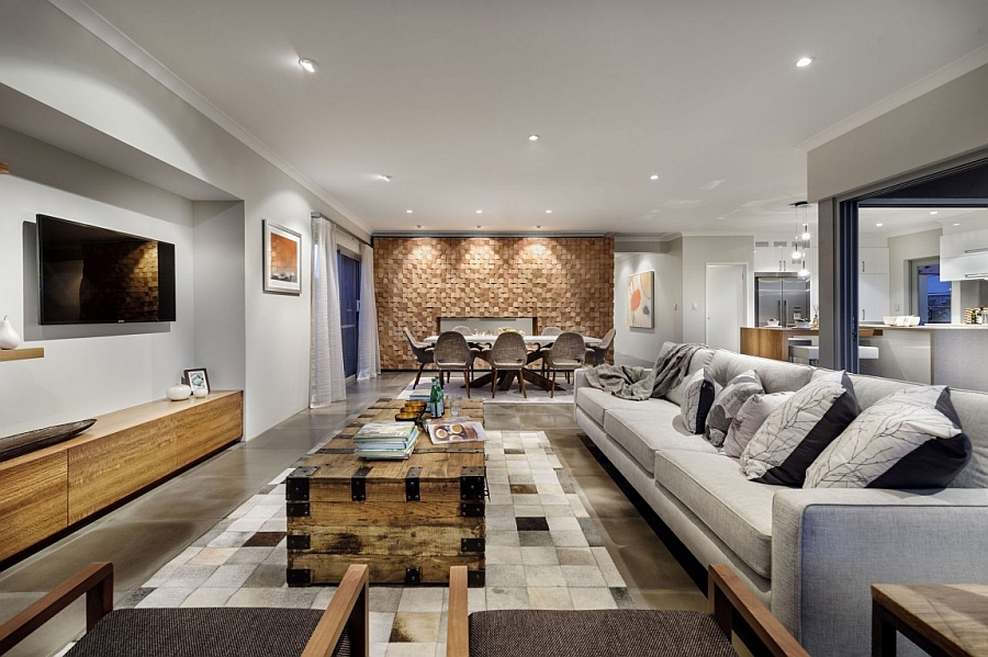 Goregous living area offers ample textural and visual contrast Inimitable Perth Residence Charms With A Refined Rustic Style