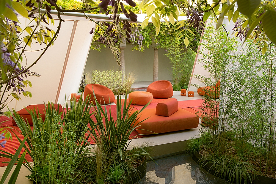 Goregous outdoor seating in bright orange is ideal for the summer evenings