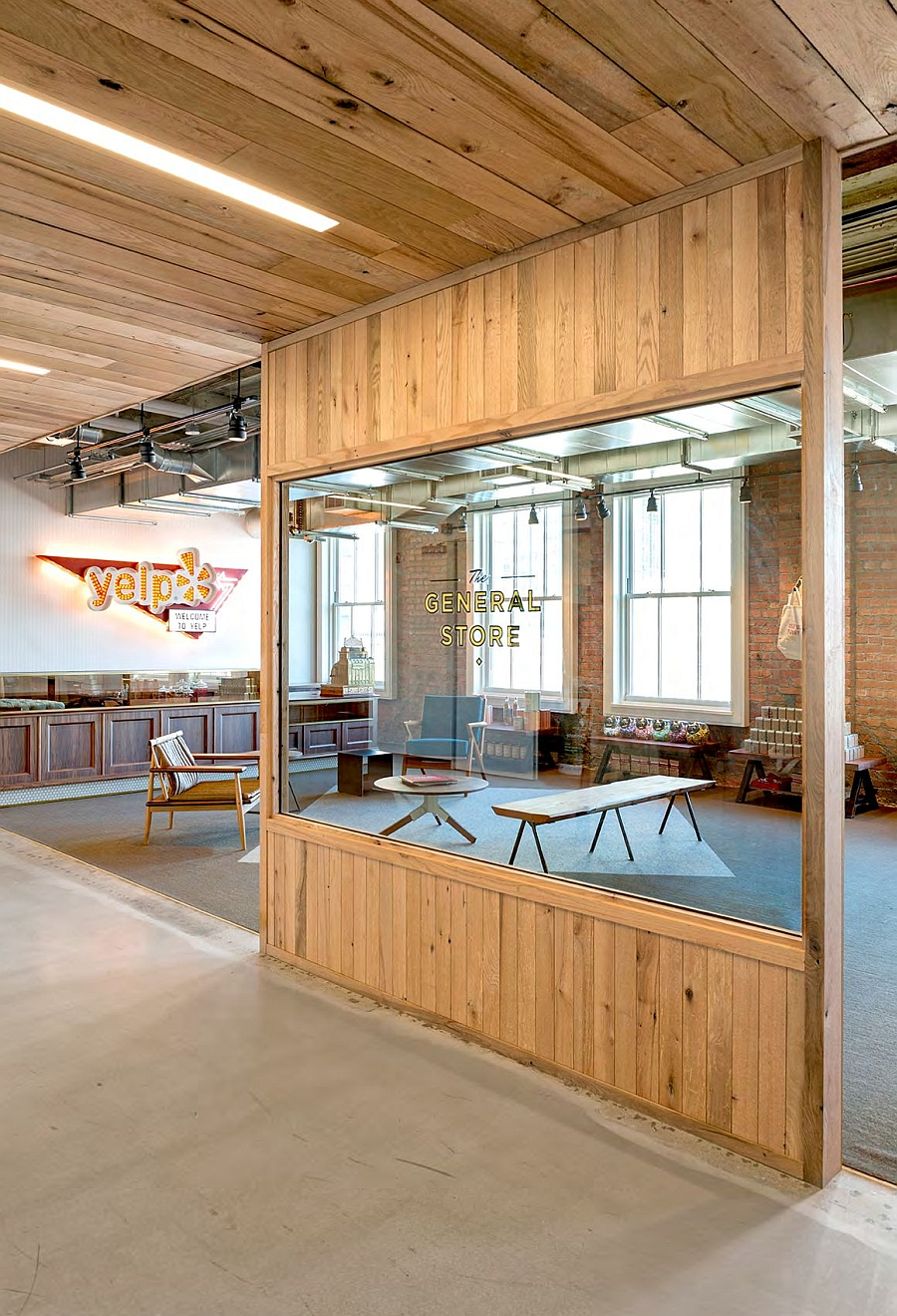 Gorgeous and vintage reception area of the Yelp offices takes inspiration from the past