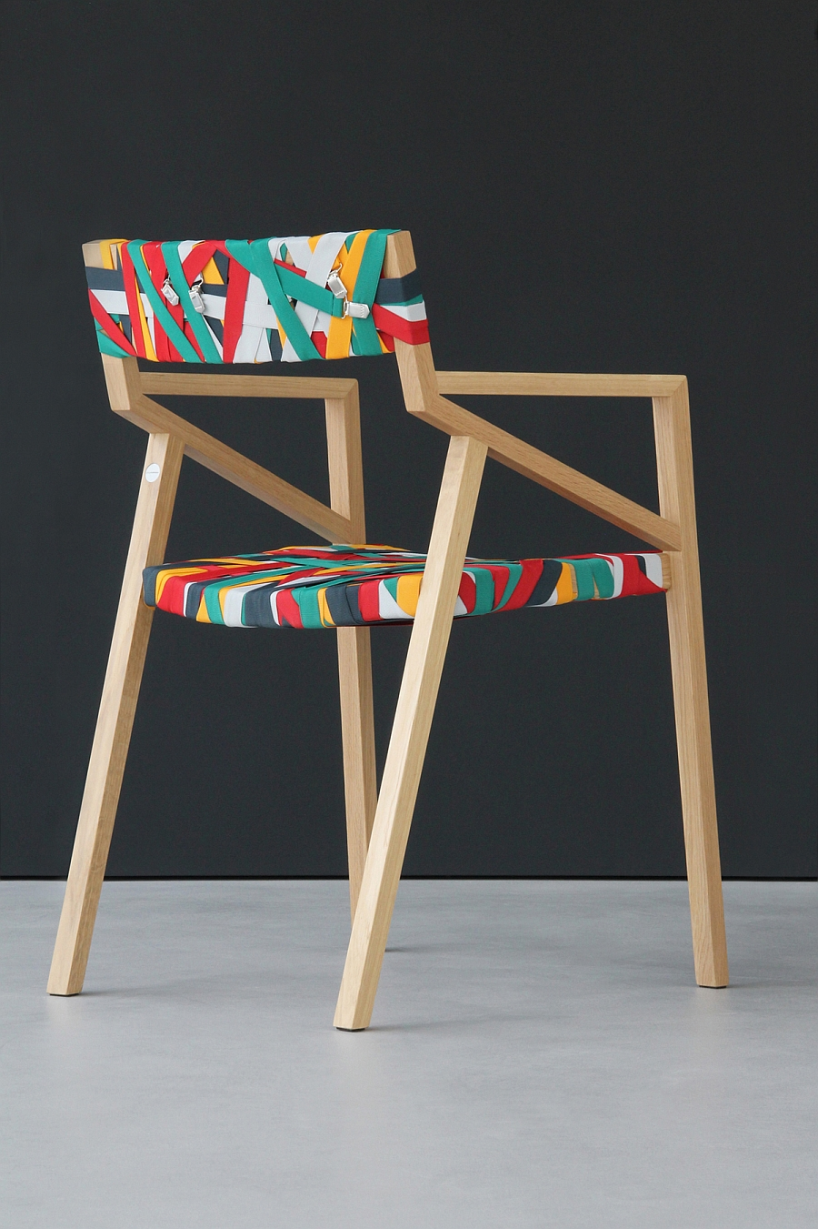 Trendy Minimalist Wood Chair Wrapped In Multicolored