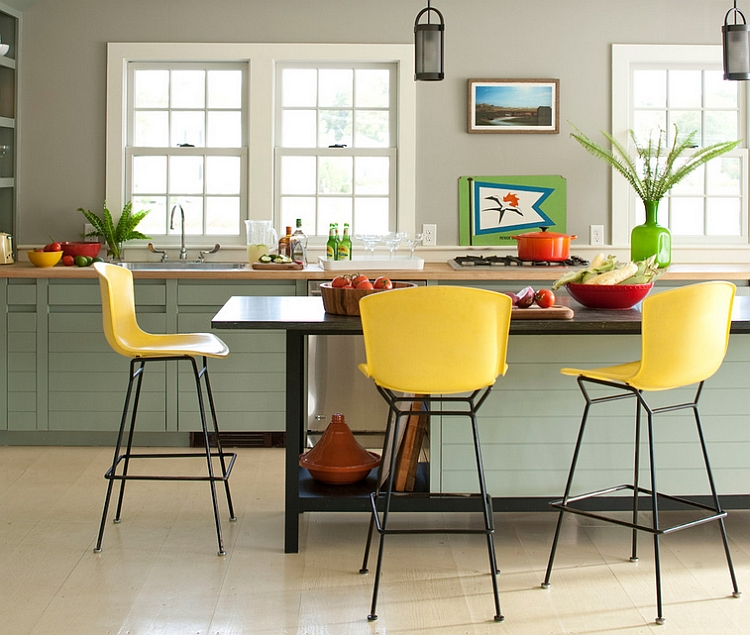 Gorgeous kitchen with green and yellow accents Hot Summer Color Combinations Bring Home Cheerful Exuberance!